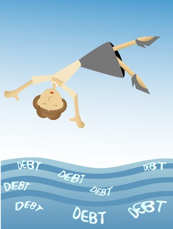 Woman falling into sea of debt