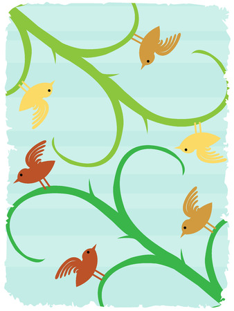 Birds on stalks angled text friendly surreal wildlife background
