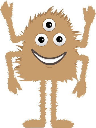 Cartoon cute and friendly fuzzy creature with multiple limbs stands smiling editable vector illustration