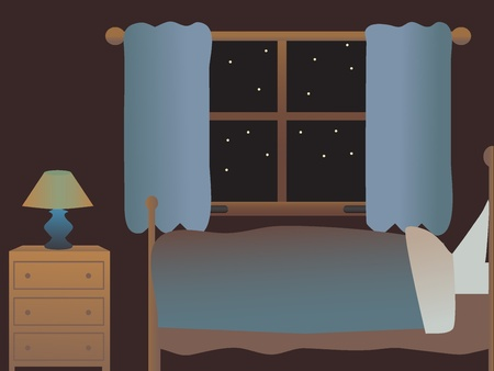 interior decoration: Simple single person bedroom at night without people editable vector illustration