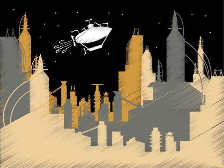 blimp: Scribble Science Fiction City Flying Blimp Vector