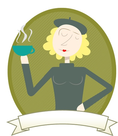 Woman in Coffee Label holding cup Stock Vector - 9208622