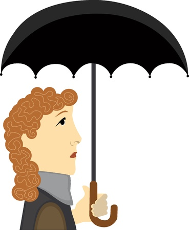 Abstract big head woman holding open umbrella Ilustrace