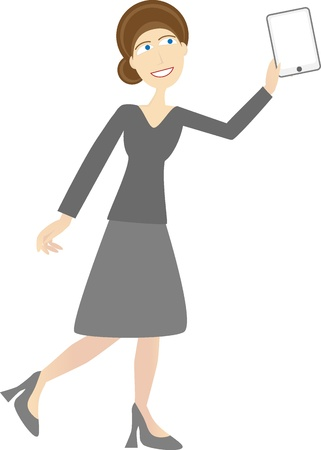 Woman in casual business attire holding up tablet pc