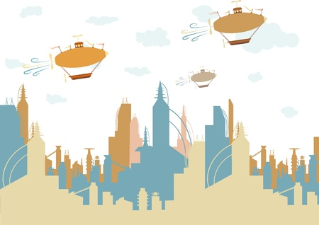 Friendly brightly colored future like city accented by three old fashion fantasy flying machines editable vector illustration