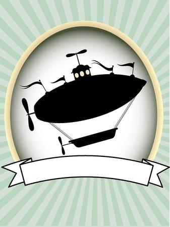 広告コピー スペース友好的な上昇の飛行船編集可能なベクトル イラスト