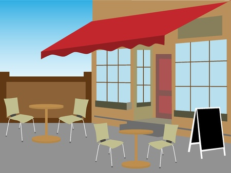 Enclosed cafe courtyard chairs table daytime Vector