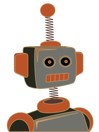 tin robot: Retro Cartoon Robot Portrait Chunky Line Illustration