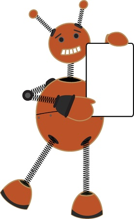 springy: Springy cartoon robot standing with one leg raised holding sign Illustration