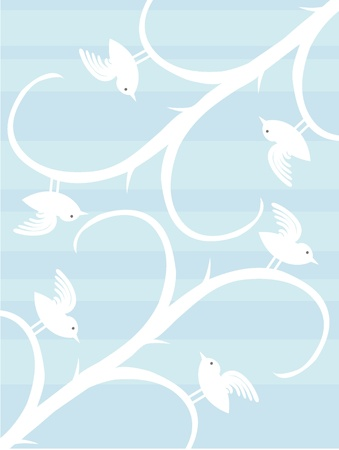 Birds On Tree Stalks Silhouette Accented By Blue Strips