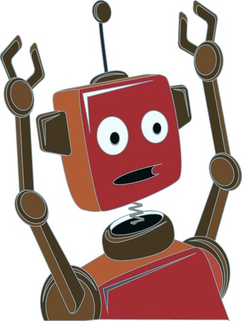 tin robot: Cartoon Robot surprised expression raised claw arms