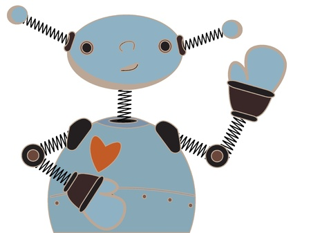 Adorable childlike abstract robot waves hand