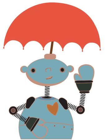 robot with shield: Happy waving robot with red umbrella attached to head