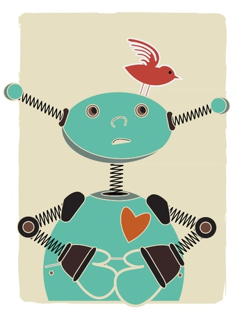 Blue robot looks up at red bird perched on his head