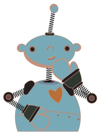 Cute robot cartoon illustration standing shyly  Ilustrace