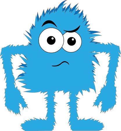 Cartoon blue hairy creature angry expression