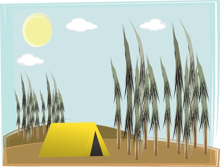 Retro illustration of lone yellow tent between pine trees daytime