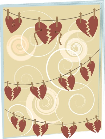 Abstract broken hearts hang from clothespins background illustration  Ilustrace