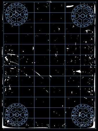Grungy gears accenting empty blueprint white grungy Vector