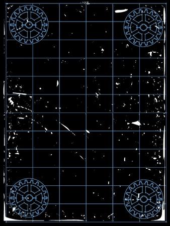 Grungy gears accenting empty blueprint white grungy Ilustração