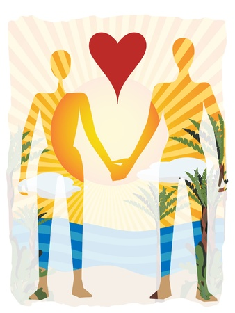 Outline of couple holding hands with see through tropical paradise behind them Ilustrace