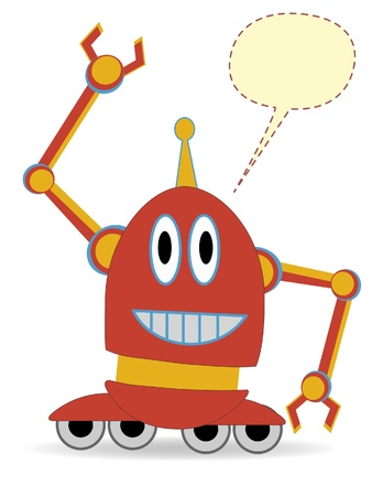 Odd adorable robot raised claw empty chat balloon Vector