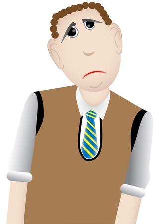 alone and sad: Hombre de dibujos animados molesto con su�ter caf� chaleco y corbata de rayas Vectores