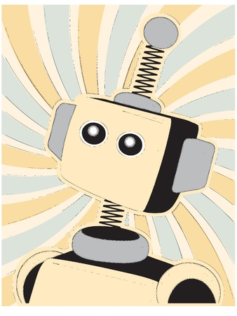 Illustration of robot in funny paper comic book retro style