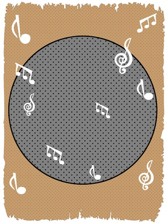 Background with white musical notes halftone brown gray text friendly rough edges