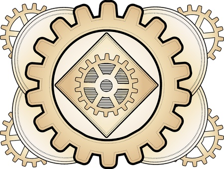 Brass gear layered logo steampunk inspired lavish ornament illustration Vector