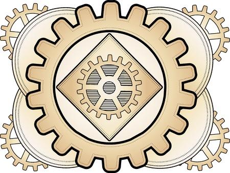 forme: Vitesse laiton logo de steampunk couches inspirée illustration ornement somptueux