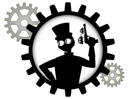 silhouette of steampunk man holds gun inside gear