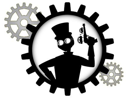 maquina de vapor: silueta de hombre steampunk posee arma dentro de engranaje Vectores