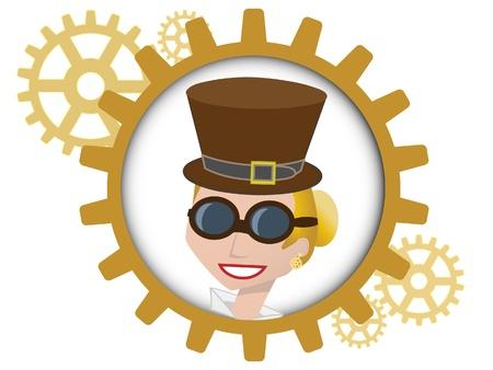 steampunk goggles: Retrato de joven dentro de varios engranajes bronce
