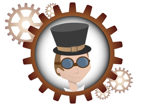 Logo style portrait of young man inside multiple bronze gears Vectores