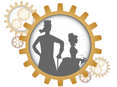 Gray outline of man and woman inside gears light grungy