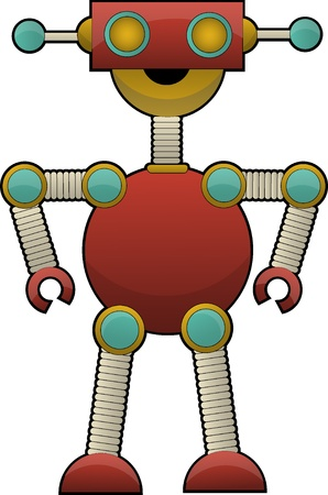 tin robot: colorful strange cute robot Vector illustration