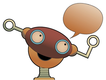 Strange cute robot head chat bubble Stock Vector - 9931166