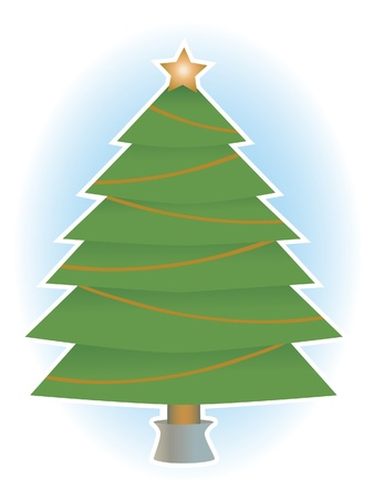 Classic simple holiday tree with no ornaments only star a top, vector illustration