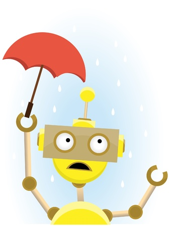 Sad cartoon robot tries to keep rain off by using too small umbrella vector illustration Ilustrace