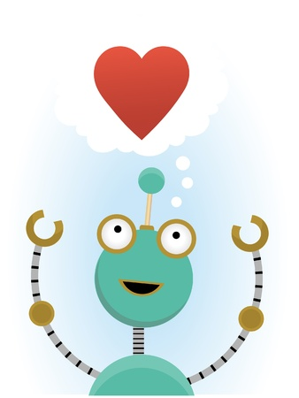 Green robot reaching for the thought of love