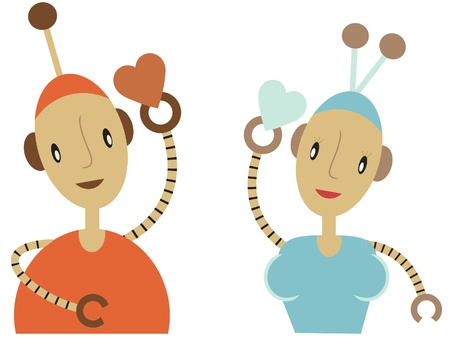 Male and Female robot giving each other hearts vector illustration