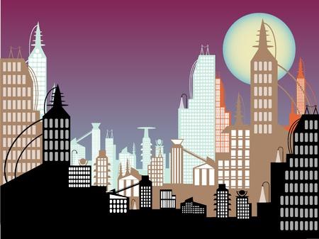 紫の空の空想科学小説のそびえ立つ摩天楼の窓のフルをリラックス上の満月  イラスト・ベクター素材