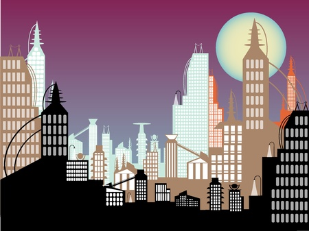 city background: Full moon above purple relaxing sky science fiction towering skyscrapers full of windows Illustration