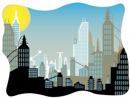 Marco de borde ondulado paisaje de brillante ciudad futuro simple
