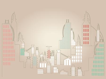Minimalist Cityscape illustration Stock Vector - 10711754