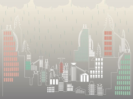 Overcast raining above ultra simple city landscape Vector