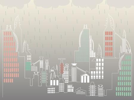 Overcast raining above ultra simple city landscape Vector
