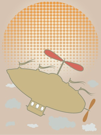 Retro airship flying up past clouds on bright sunny day abstract, copy space friendly