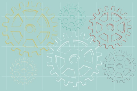 Grungy sketched faded vector illustration of gear outlines on pale blue